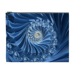 Blue Fractal Abstract Spiral Cosmetic Bag (xl)