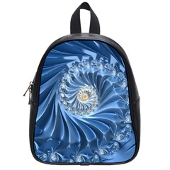Blue Fractal Abstract Spiral School Bag (small)