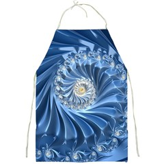 Blue Fractal Abstract Spiral Full Print Aprons