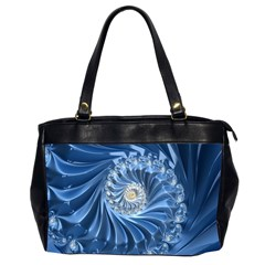 Blue Fractal Abstract Spiral Office Handbags (2 Sides)