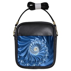 Blue Fractal Abstract Spiral Girls Sling Bags
