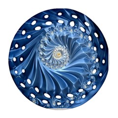 Blue Fractal Abstract Spiral Round Filigree Ornament (two Sides)