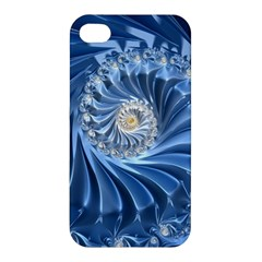 Blue Fractal Abstract Spiral Apple Iphone 4/4s Hardshell Case by Nexatart