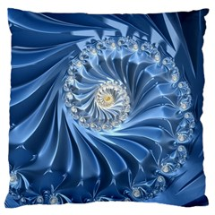Blue Fractal Abstract Spiral Large Cushion Case (one Side) by Nexatart