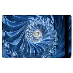 Blue Fractal Abstract Spiral Apple Ipad 2 Flip Case by Nexatart