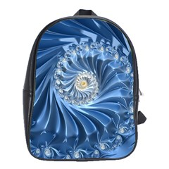 Blue Fractal Abstract Spiral School Bag (xl)
