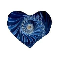 Blue Fractal Abstract Spiral Standard 16  Premium Heart Shape Cushions