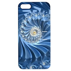 Blue Fractal Abstract Spiral Apple Iphone 5 Hardshell Case With Stand
