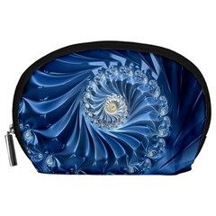 Blue Fractal Abstract Spiral Accessory Pouches (large)  by Nexatart