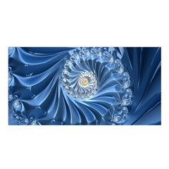 Blue Fractal Abstract Spiral Satin Shawl