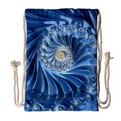 Blue Fractal Abstract Spiral Drawstring Bag (large)