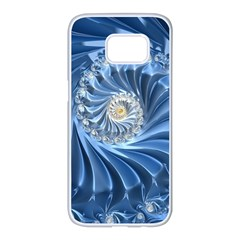 Blue Fractal Abstract Spiral Samsung Galaxy S7 Edge White Seamless Case by Nexatart