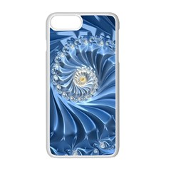Blue Fractal Abstract Spiral Apple Iphone 7 Plus White Seamless Case