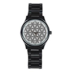 Seamless Pattern Repeat Line Stainless Steel Round Watch