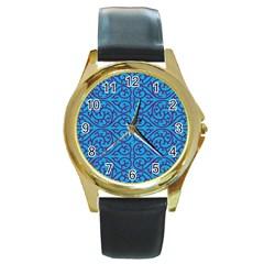 Monogram Blue Purple Background Round Gold Metal Watch