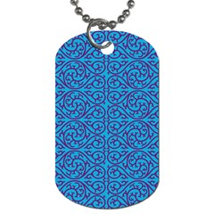 Monogram Blue Purple Background Dog Tag (one Side)