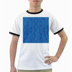 Monogram Blue Purple Background Ringer T Shirts