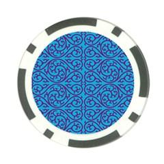 Monogram Blue Purple Background Poker Chip Card Guard by Nexatart