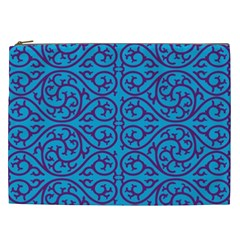 Monogram Blue Purple Background Cosmetic Bag (xxl)  by Nexatart