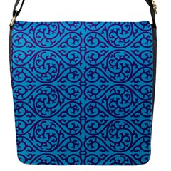 Monogram Blue Purple Background Flap Messenger Bag (s)