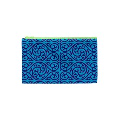 Monogram Blue Purple Background Cosmetic Bag (xs)
