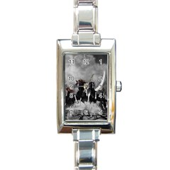 Awesome Wild Black Horses Running In The Night Rectangle Italian Charm Watch by FantasyWorld7