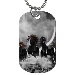 Awesome Wild Black Horses Running In The Night Dog Tag (two Sides) by FantasyWorld7