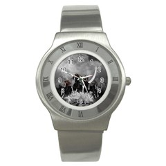 Awesome Wild Black Horses Running In The Night Stainless Steel Watch by FantasyWorld7