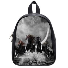 Awesome Wild Black Horses Running In The Night School Bag (small) by FantasyWorld7
