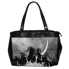 Awesome Wild Black Horses Running In The Night Office Handbags (2 Sides)  by FantasyWorld7