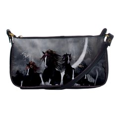 Awesome Wild Black Horses Running In The Night Shoulder Clutch Bags by FantasyWorld7