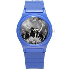 Awesome Wild Black Horses Running In The Night Round Plastic Sport Watch (s) by FantasyWorld7