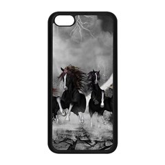 Awesome Wild Black Horses Running In The Night Apple Iphone 5c Seamless Case (black) by FantasyWorld7