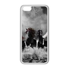 Awesome Wild Black Horses Running In The Night Apple Iphone 5c Seamless Case (white) by FantasyWorld7