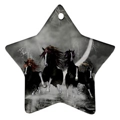 Awesome Wild Black Horses Running In The Night Ornament (star) by FantasyWorld7