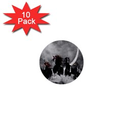 Awesome Wild Black Horses Running In The Night 1  Mini Buttons (10 Pack)  by FantasyWorld7