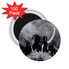 Awesome Wild Black Horses Running In The Night 2 25  Magnets (100 Pack)  by FantasyWorld7