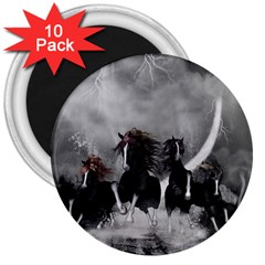 Awesome Wild Black Horses Running In The Night 3  Magnets (10 Pack)  by FantasyWorld7