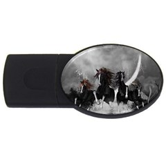 Awesome Wild Black Horses Running In The Night Usb Flash Drive Oval (2 Gb) by FantasyWorld7
