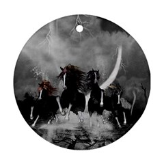 Awesome Wild Black Horses Running In The Night Round Ornament (two Sides) by FantasyWorld7
