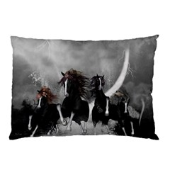 Awesome Wild Black Horses Running In The Night Pillow Case by FantasyWorld7