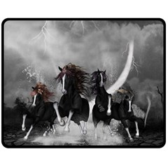Awesome Wild Black Horses Running In The Night Fleece Blanket (medium)  by FantasyWorld7