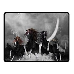 Awesome Wild Black Horses Running In The Night Fleece Blanket (small) by FantasyWorld7