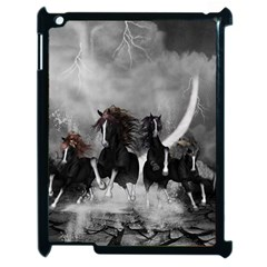Awesome Wild Black Horses Running In The Night Apple Ipad 2 Case (black) by FantasyWorld7