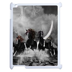 Awesome Wild Black Horses Running In The Night Apple Ipad 2 Case (white) by FantasyWorld7