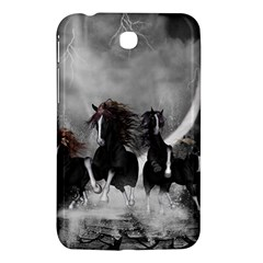 Awesome Wild Black Horses Running In The Night Samsung Galaxy Tab 3 (7 ) P3200 Hardshell Case  by FantasyWorld7