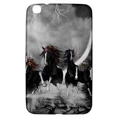 Awesome Wild Black Horses Running In The Night Samsung Galaxy Tab 3 (8 ) T3100 Hardshell Case  by FantasyWorld7