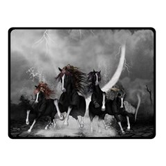 Awesome Wild Black Horses Running In The Night Double Sided Fleece Blanket (small)  by FantasyWorld7