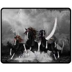 Awesome Wild Black Horses Running In The Night Double Sided Fleece Blanket (medium)  by FantasyWorld7