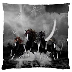 Awesome Wild Black Horses Running In The Night Large Flano Cushion Case (one Side) by FantasyWorld7